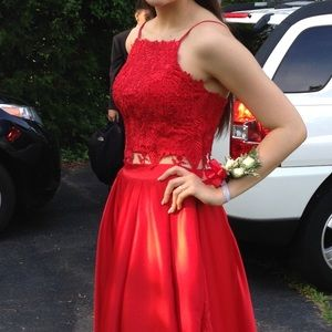 Stunning two piece red gown
